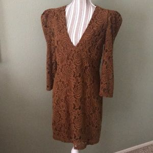 NEW Free People Crochet/Lace Puff Shoulder Dress